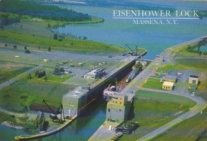 New York Massena Canadian Cargo Ship In Eisenhower Lock