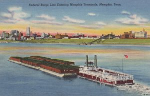 Federal Barge Line Entering Memphis Terminal, Tennessee, 30-40s