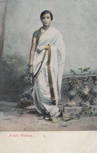 Hindu Indian India Woman White Robe Fashion Antique Postcard