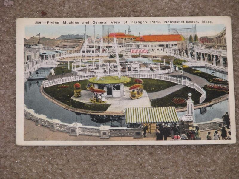 Flying Machine and View of Paragon,  Nantasket Beach, Mass., unused vintage card