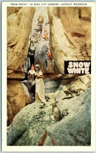 Vintage ROCK CITY GARDENS Amusement Park Postcard Snow White Lookout Mtn 1940s