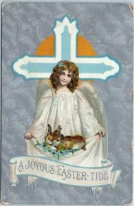 Vintage EASTER Holiday Postcard Angel Cross Bunny Rabbits 1909 Cancel