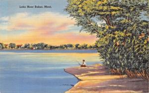 BAKER MONTANA LAKE NEARBY POSTCARD 1940s