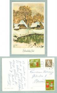 Christmas Card 1963. Farm Houses,Pond. With 2 Christmas Seal. Postal Used
