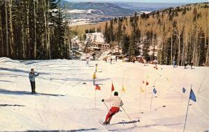 SAN FRANCISO PEAKS-FLAGSTAFF ARIZONA SNOW BOWL~SLALOM SKIER POSTCARD 1960s
