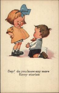 Little Boy on Bent Knee Begging Girl c1915 Postcard