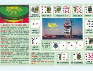 Pre-1980 BLACKJACK RULES POSTCARD FROM ALADDIN CASINO HOTEL Las Vegas NV B0725