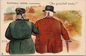 'Two Good Full Backs' Football Terms TUCK Humouous Man Woman c1907 Postcard E64