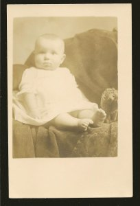 Vintage Portrait of A Baby With a Doll B&W Real Photo Postcard Unposted
