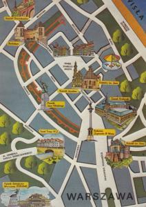 Warszawa Polish Map Postcard