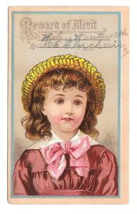 Antique Victorian Reward of Merit School Girl Bufford Litho Card Helen Wentworth