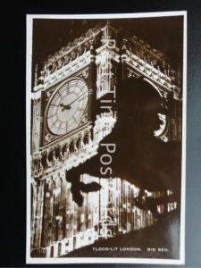 c1930's RP FLOOD-LIT LONDON: Big Ben