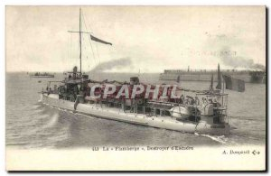 Old Postcard The Flamberge warship destroyer squadron