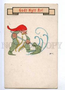 187432 NEW YEAR Gnome Dwarf in Snow Vintage ART DECO PC