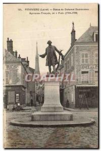 Pithiviers Old Postcard Statue of french agronomist Duhamel Dumonceau