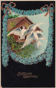 Birthday Greetings Doves Bird House to Centerville KS Postcard B34