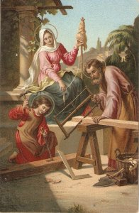 A. Muller. The Holy Family Fine painting, vintage German religious postcard