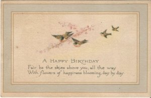 Birds and Cherry Blossoms Greet the Receiver on this Vintage Postcard