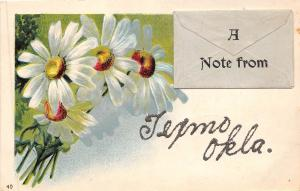 A21/ Texmo Oklahoma Ok Postcard Glitter Greetings A Note From c1910