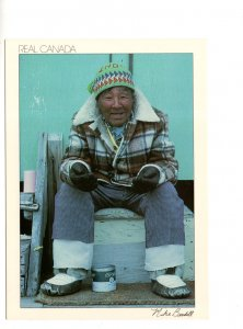 Large 5 X 7 inch,  Inuit Man in Canada Arctic Northwest Territories