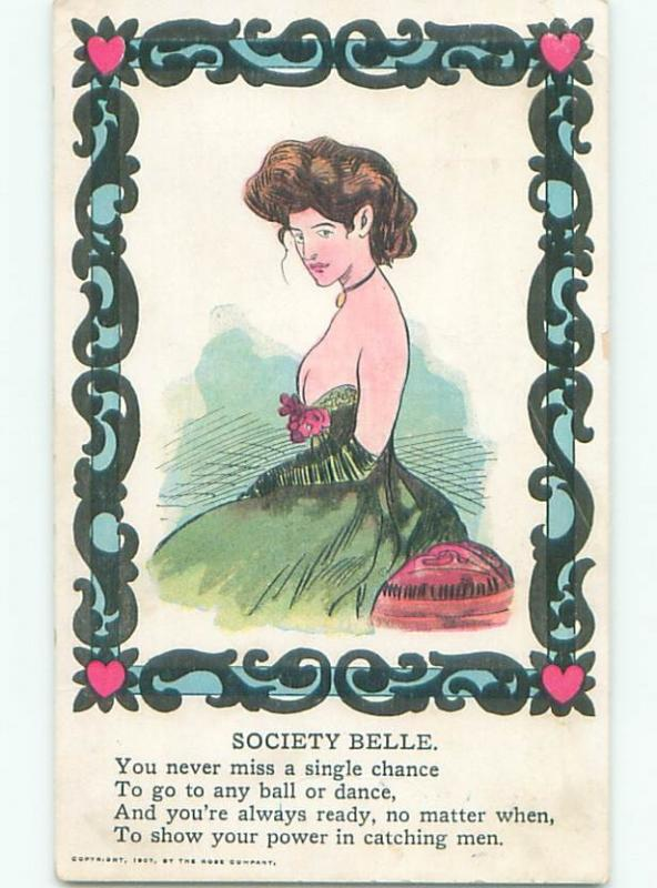 Pre-Linen risque SEXY SOCIETY BELLE WITH VERY LOW-CUT DRESS W7246