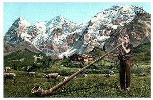 Alphornblaser Alpine Horn Ricola Switzerland Postcard Posted 1957