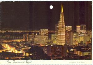 USA, San Francisco at Night, 1970s used Postcard