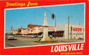 LOUISVILLE MISSISSIPPI  CIVIL WAR STATUE~TABOR DRUG GREETING FROM POSTCARD 1960s