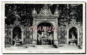 Old Postcard Nancy Place Stanislas Neptune Fountain