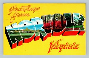 Norfolk VA, LARGE Letter Greetings, Chrome Virginia Postcard