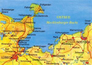 Postcard Map Germany Baltic Sea, Mecklenburger Bucht Bay, Rostock, Lubeck 60D