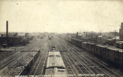 Printed as Wabash Freight Yards, Montpelier, Michigan, MI, USA Railroad Train...