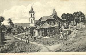 dominica, W.I., ROSEAU, Two Streets, Church (1910s)