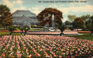 Illinois Chicago Lincoln Park Conservatory and Fountain 1947 Curteich