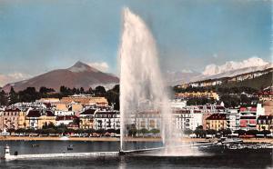 Switzerland Old Vintage Antique Post Card Geneve Le Jet d'Eau Mont Blanc...