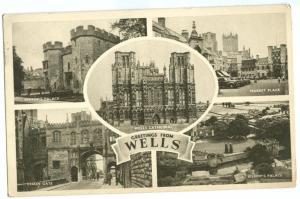 United Kingdom, Greetings from Wells, 1957 used Postcard