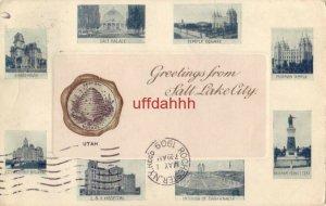 GREETINGS FROM SALT LAKE CITY, UT 1909 eight views of city landmarks