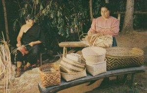 CHEROKEE , North Carolina , 1956; Oconaluftee Indian village, Basket Weavers