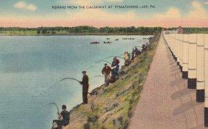 PYMATUNING LAKE, Pennsylvania, 1930-1940s; Fishing From The Causeway