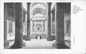 St Paul Minnesota~State Capitol~Interior Marble Pillars~1906 B&W Postcard