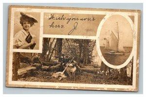 Vintage 1908 Photo Kodak Advertisement Postcard Portrait Sailing Camping Photos
