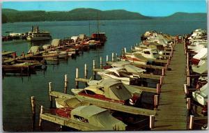 Lake Front Motel Marina, Otsego Lake, Boats Docks Cooperstown NY Postcard J16