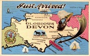 Vintage Map Postcard, Just Arrived, Glorious Devon by H.Barton DP2
