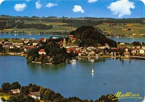 Mattsee Hinter dem Mattsee Obertrumer See Lake Boats Church Panorama Postcard