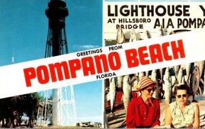 Florida Greetings From Pompano Beach Showing Lighthouse At Hillsboro Bridge