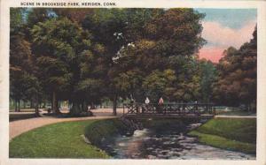 Bridge Scene in Brookside Park - Meriden CT, Connecticut - WB
