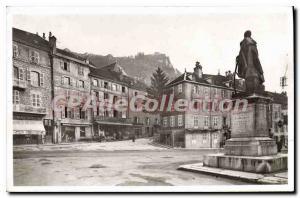 Old Postcard Salins Les Bains Place D'Armes and Fort Belin