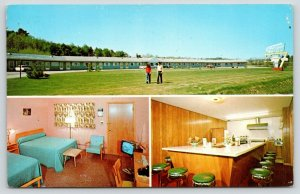 Lewiston Maine~Holiday Motel Inside Out~TV on in Guest Room~Coffee Shop~1972 PC