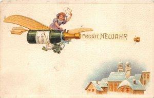 uk40810 prosit neujahr new year greetings uk embossed champagne  fantasy