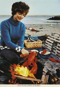 Lobster At Its Best NS Nova Scotia Pretty Woman Seafood Vintage Postcard D9